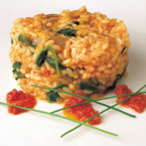"""Risotto"" with spinach, mushrooms and Sobrasada"
